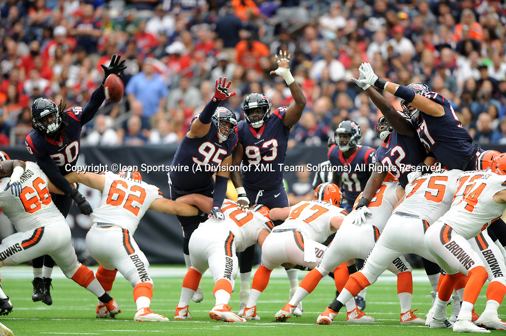 HOUSTON, TX - OCTOBER 15: Houston Texans defenders Jadeveon Clowney (90), Christian Covington (95), Joel Heath (93), Brandon Dunn (920 and Brennan Scarlett (57) try to block a field goal during the NFL game between the Houston Texans and the Cleveland Browns on October 15, 2017 at NRG Stadium in Houston, TX. (Photo by John Rivera/Icon Sportswire)