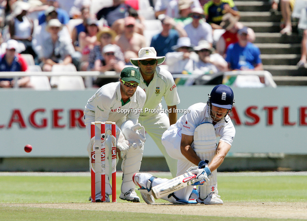 Alastair Cook reverse sweeps Paul Harris during the 2nd day of the third test match between South Africa and England held at Newlands Cricket Ground in Cape Town on the 4th January 2010.Photo by: Ron Gaunt/ SPORTZPICS