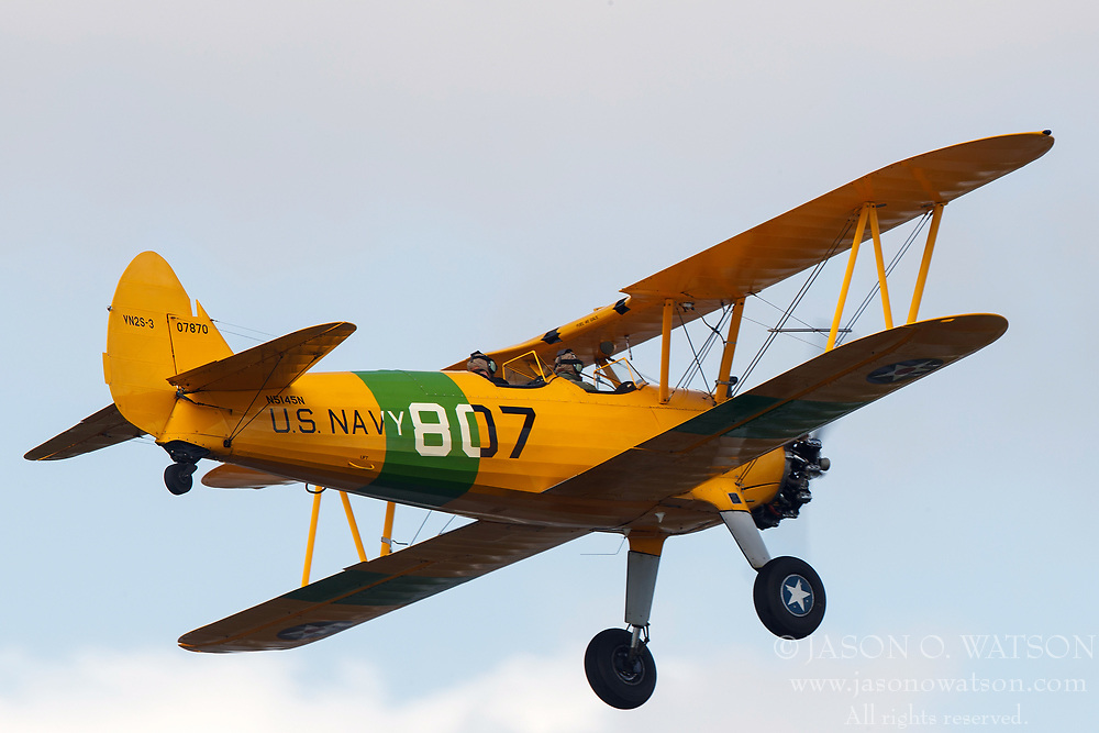 1943 Boeing-Stearman Model 75 B75N1 (N5145N) on approach into Palo Alto Airport (KPAO), Palo Alto, California, United States of America