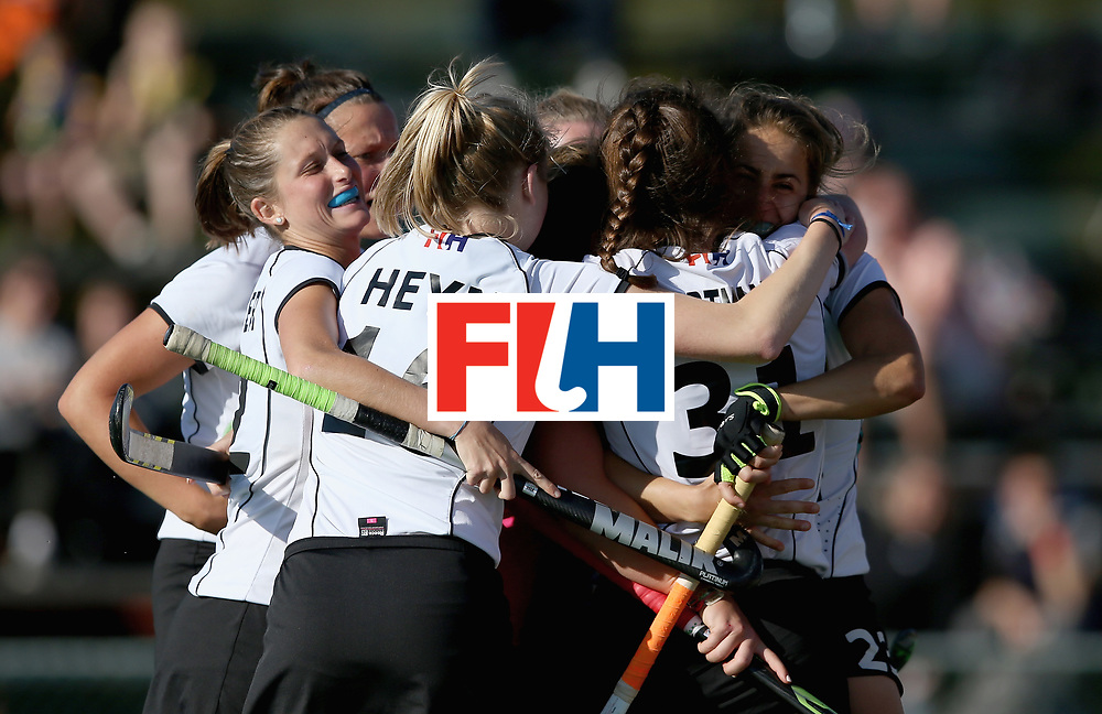 JOHANNESBURG, SOUTH AFRICA - JULY 10:  Germany players celebrate their equalising goal during day 2 of the FIH Hockey World League Semi Finals Pool A match between Germany and Ireland at Wits University on July 10, 2017 in Johannesburg, South Africa.  (Photo by Jan Kruger/Getty Images for FIH)