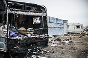 March 1, 2016 - Calais, France -<br /> <br /> Destruction Of Calais Jungle Camp Continues<br /> <br /> The 'jungle' migrant camp on March 01, 2016 in Calais, France. Authorities return to clear migrant shelters from more parts of the 'Jungle' migrant camp in Calais and try to move people to shipping containers on another part of the site. French demolition teams began dismantling huts yesterday. Resistance is expected to continue and overnight riot police fired teargas at migrants who were throwing stones. A court ruling on Thursday approved a French Govt plan to clear part of the site. Authorities say approx 1,000 migrants are to be affected out of 3,700 people - many of them refugees from Syria and Iraq - who are thought to live in the camp. Mayor of Calais Natacha Bouchart has demanded the closure of the site for several weeks following several recent clashes with police <br /> ©Exclusivepix Media
