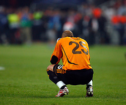 Athens, Greece - Wednesday, May 23, 2007: Liverpool's goalkeeper Jose Reina looks dejected after losing 2-1 to AC Milan during the UEFA Champions League Final at the OACA Spyro Louis Olympic Stadium. (Pic by David Rawcliffe/Propaganda)