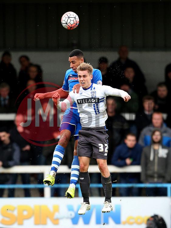 Danny Rose of Bury wins a header - Mandatory byline: Matt McNulty/JMP - 06/12/2015 - Football - Spotland Stadium - Rochdale, England - Rochdale v Bury - FA Cup