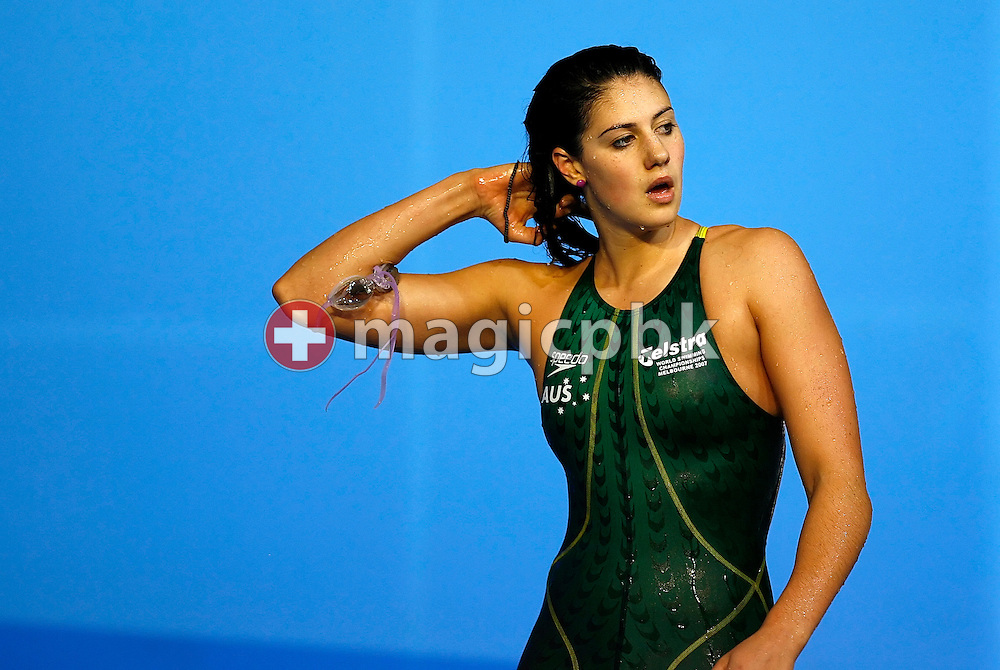 Bronze medal winner Stephanie Rice of Australia on her way out after competing in the women's 400m individual medley final in the Susie O'Neill pool at the FINA Swimming World Championships in Melbourne, Australia, Sunday 1 April 2007.  (Photo by Patrick B. Kraemer / MAGICPBK)