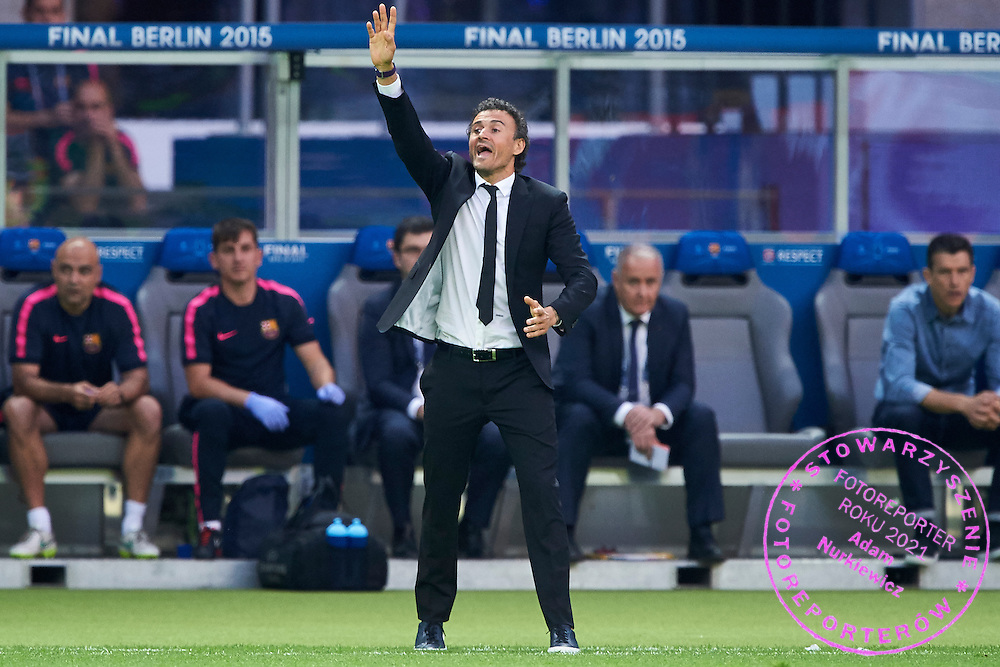 Luis Enrique trainer coach of Barcelona gestures during the 2014/15 UEFA Champions League Final between Juventus and FC Barcelona at Olympiastadion on June 6, 2015 in Berlin, Germany.<br /> Germany, Berlin, June 6, 2015<br /> <br /> Picture also available in RAW (NEF) or TIFF format on special request.<br /> <br /> For editorial use only. Any commercial or promotional use requires permission.<br /> <br /> Adam Nurkiewicz declares that he has no rights to the image of people at the photographs of his authorship.<br /> <br /> Mandatory credit:<br /> Photo by &copy; Adam Nurkiewicz / Mediasport