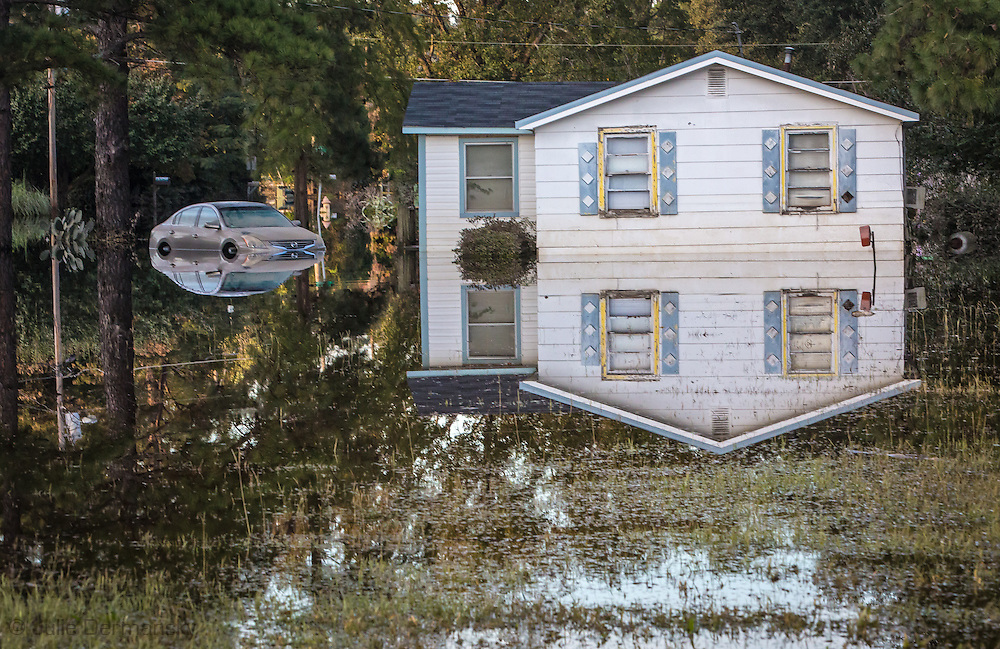 Reflection in flood waters from Hurricane Matthew in Lumberton, North Carolina.