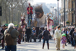 "London, March 13th 2016. The annual St Patrick's Day Parade takes place in the Capital with various groups from the Irish community as well as contingents from other ethnicities taking part in a procession from Green Park to Trafalgar Square.  PICTURED: A giant ""Crom"" from the Macnas street theatre company in Co Galway towers over the procession. ©Paul Davey<br /> FOR LICENCING CONTACT: Paul Davey +44 (0) 7966 016 296 paul@pauldaveycreative.co.uk"