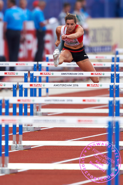 Amsterdam, Netherlands - 2016 July 07: Clelia Rard - Reuse from Switzerland in women&rsquo;s 100 meters hurdles during European Championships Athletics 2016 at Olympic Stadium on July 07, 2016 in Amsterdam, Netherlands.<br /> <br /> Adam Nurkiewicz declares that he has no rights to the image of people at the photographs of his authorship.<br /> <br /> Picture also available in RAW (NEF) or TIFF format on special request.<br /> <br /> Any editorial, commercial or promotional use requires written permission from the author of image.<br /> <br /> Mandatory credit:<br /> Photo by &copy; Adam Nurkiewicz