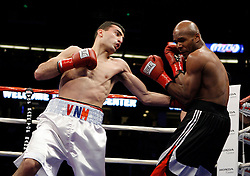 January 27, 2007; Anaheim, CA; USA; Vanes Martirosyan knocks out Taronze Washington in the second round of their bout at the Honda Center in Anaheim, CA.