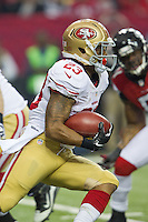 20 January 2013: Running back (23) LaMichael James of the San Francisco 49ers runs the ball against the Atlanta Falcons during the first half of the 49ers 28-24 victory over the Falcons in the NFC Championship Game at the Georgia Dome in Atlanta, GA.
