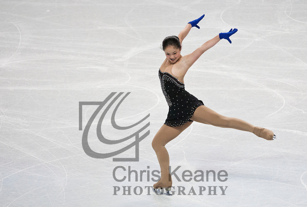 Carolina Zhang skates at a practice session during the U.S. Figure Skating Championships in Greensboro, North Carolina on January 25, 2011. REUTERS/Chris Keane (UNITED STATES)