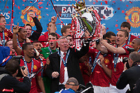 Football - Premier League 2012 / 2013 - Manchester United vs. Swansea<br /> Alex Ferguson, manager of Manchester United leads trophy celebrations at Old Trafford