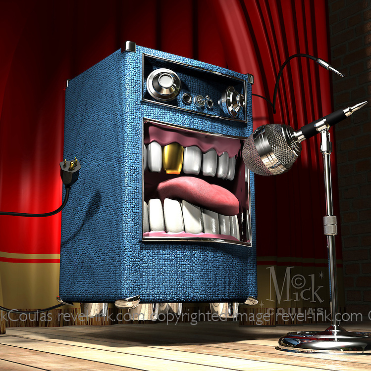 Monsta Riff is a loud mouth amplifier with a bad rap for rapping badly. Character design and 3D modeling by Mick Coulas.