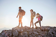 Hiking, Men, Women, Success, Viewpoint, Mountain Peak,