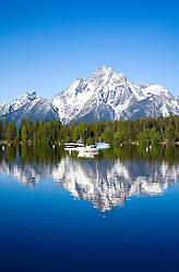 Teton National Park, WY: Mount Moran, as seen in early morning from Colter Bay on Jackson Lake.