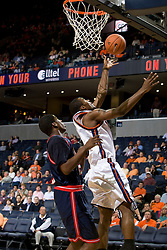 Virginia guard Jeff Jones (1) shoots against Howard forward Anthony Thomas (21).  The Virginia Cavaliers men's basketball team faced the Howard Bison at the John Paul Jones Arena in Charlottesville, VA on November 14, 2007.