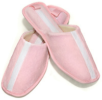 Amy Jo Gladstone pink and white slippers