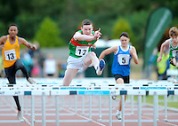 21 Aug 2016: Iarlaith Golding, from Mayo, on his way to winning the Boys U14 Hurdles final.  2016 Community Games National Festival 2016.  Athlone Institute of Technology, Athlone, Co. Westmeath. Picture: Caroline Quinn