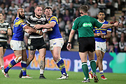 Referee Ben Thaler stops play during the Betfred Super League match between Hull FC and Leeds Rhinos at Kingston Communications Stadium, Hull, United Kingdom on 19 April 2018. Picture by Mick Atkins.
