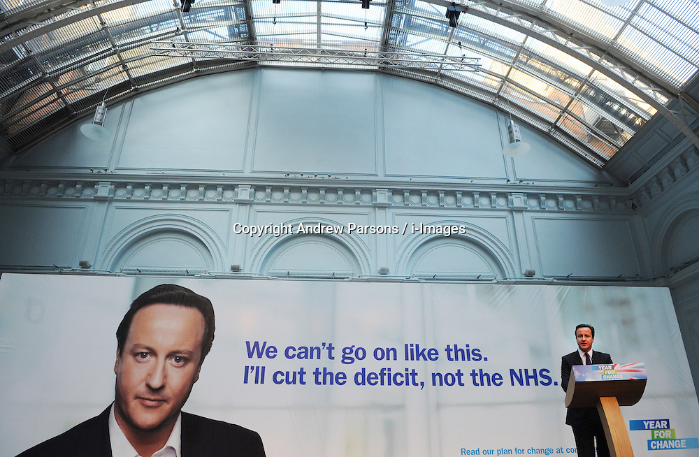 Leader of the Conservative Party David Cameron during his speech at the Royal Horticultural Halls and Conference centre, London, Monday January 4, 2010. Photo By Andrew Parsons / i-Images.