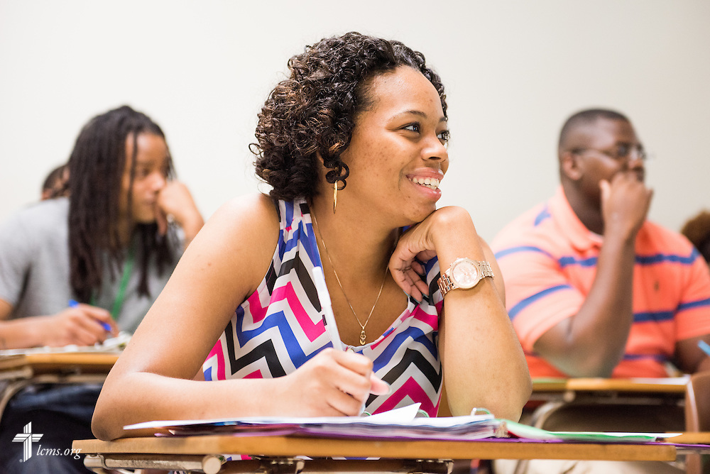 Courtney Sharpe listens during a composition class at Concordia College Alabama on Wednesday, August 20, 2014, in Selma, Ala.  LCMS Communications/Erik M. Lunsford
