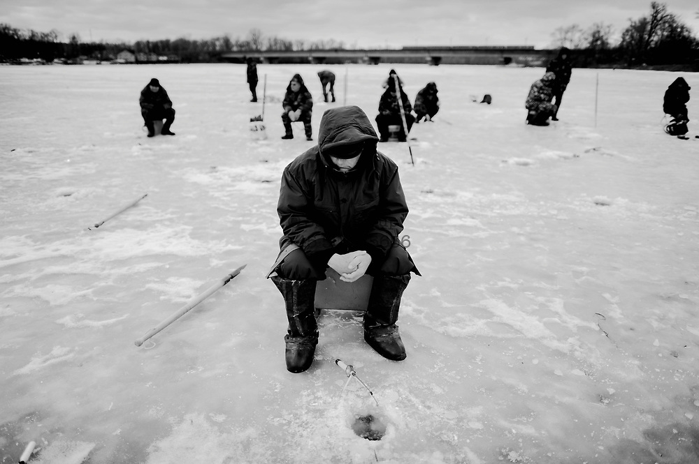 On April 26 - 2011.25 years after the Chernobyl disaster people are still suffering from the long term consequences of a nuclear meltdown. Countries affected struggle with cronic illness, contaminated food - For many their life ended with Chernobyl...<br /> Ice fishing in Kiev - even in Kiev food still have high numbers of radiation in some of the food sold in the markeds. 25 years after the nuclear disaster at the Chernobyl power plant in Ukraine, the country are still suffering from sickness and pollution. children in the villages like Drosdyn suffer from general bad health and are admitted to hospitals in the capitol Kiev.