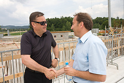 Mayor of Ljubljana Zoran Jankovic and Franci Zavrl at open door day 1 year before opening of new football stadium and sports hall in Stozice,  on June 30, 2009, at Stadium Stozice, Ljubljana, Slovenia. (Photo by Vid Ponikvar / Sportida)