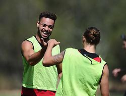 Derrick Williams of Bristol City shares a joke with Luke Freeman of Bristol City  - Photo mandatory by-line: Joe Meredith/JMP - Mobile: 07966 386802 - 17/07/2015 - SPORT - Football - Albufeira -  - Pre-Season Training