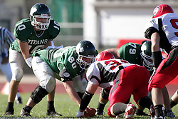 04 October 2008: Kraig Ladd under center Keely Flood in a battle between the Carthage Red Men and the Illinois Wesleyan University Titans, Game action was at Wilder Field on the campus of Illinois Wesleyan University in Bloomington Illinois.