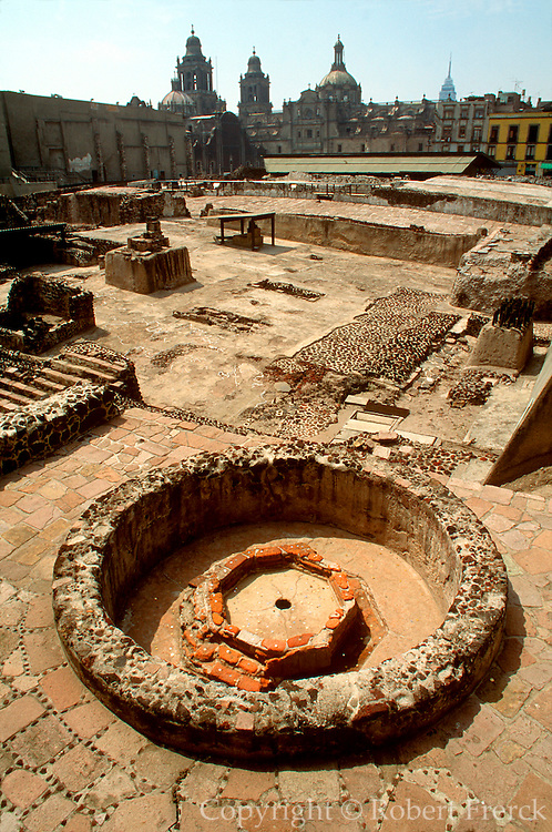 MEXICO, MEXICO CITY, AZTEC Great Temple (Templo Mayor) in Zócalo