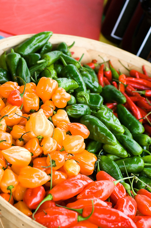 Red, green and yellow chillis in a basket