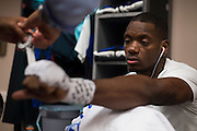 LAS VEGAS, NV - JULY 8:  Will Brooks has his hands wrapped in the locker room before The Ultimate Fighter Finale at MGM Grand Garden Arena on July 8, 2016 in Las Vegas, Nevada. (Photo by Cooper Neill/Zuffa LLC/Zuffa LLC via Getty Images) *** Local Caption *** Will Brooks