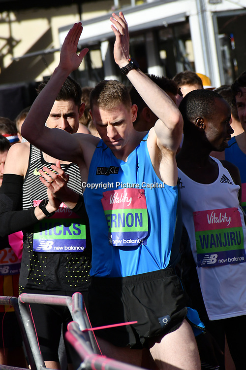 Andy Vernon at the race start men and women at The Vitality Big Half 2019 on 10 March 2019, London, UK.