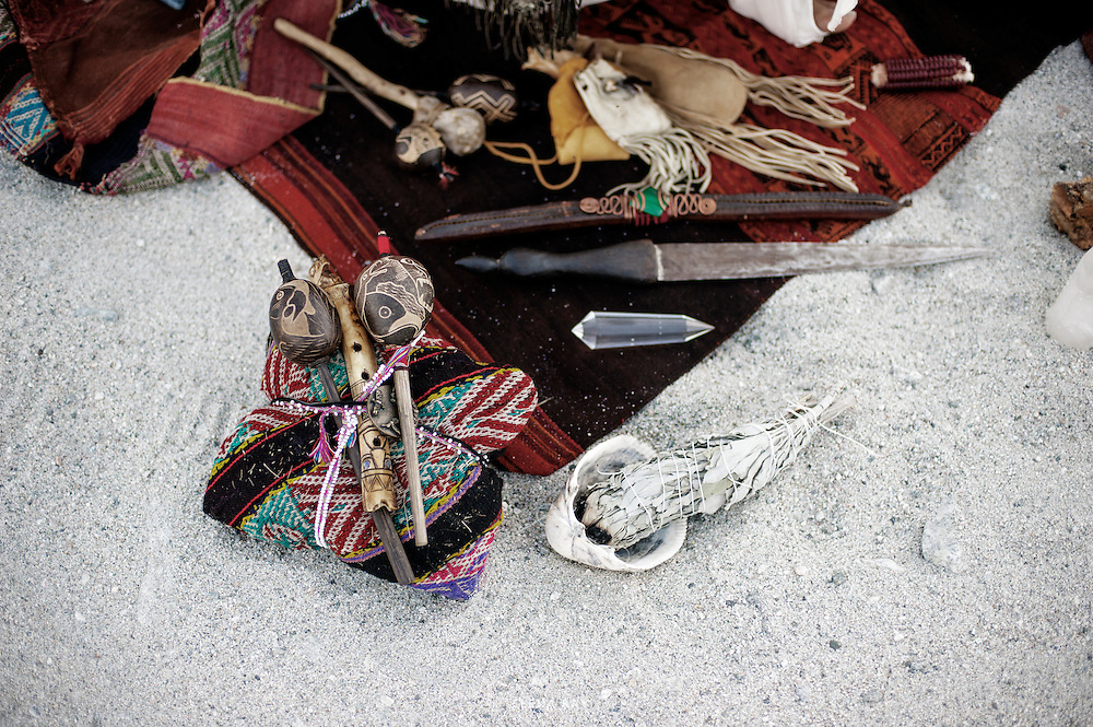 """""""A shaman's mesa is a portable altar (where he goes to meet the spirits) or medicine bundle used for healing, ceremony, prayer and divination. The contents of a mesa vary from shaman to shaman, but generally include healing stones and other artifacts representing elements of their personal healing journey."""" Alberto Villodo"""