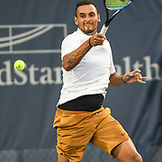 NICK KYRGIOS hits a forehand at the Rock Creek Tennis Center.