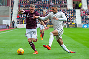 Callumn Morrison (#38) of Heart of Midlothian and Max Lowe (#29) of Aberdeen FC during the Ladbrokes Scottish Premiership match between Heart of Midlothian and Aberdeen at Tynecastle Stadium, Edinburgh, Scotland on 20 October 2018.