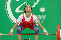 Ashgabat 2017 - 5th Asian Indoor & MartialArts Games 17-09-2017. Huiying Xiao (CHN) competes in the snatch competition