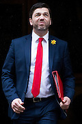 UNITED KINGDOM, London: 1 March 2016. Welsh Secretary Stephen Crabb leaves Downing Street after attending Cabinet meeting in central London.  Pic by Andrew Cowie / Story Picture Agency