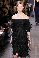 Julie Hoomans walks the runway wearing Jason Wu Fall 2016, Hair by Paul Hanlon for Morocconoil, Makeup by Yadim for Maybelline, shot by Thomas Concordia during New York Fashion Week on February 12, 2016