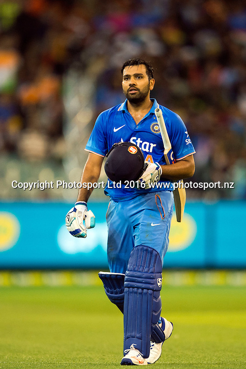 Indian player Rohit Sharma walks backs in frustration over his run-out during the Twenty20 match between Australia and India at the MCG in Melbourne, Australia. Friday 29 January 2016. Copyright photo: Raghavan Venugopal / www.photosport.nz