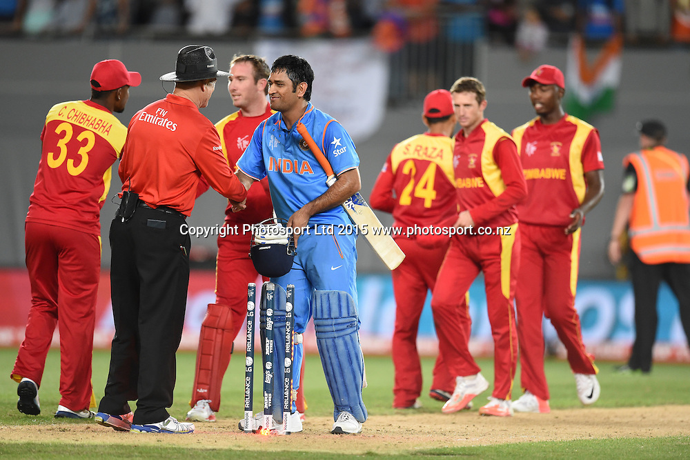 Players congragulate each other after India's victory over Zimbabwe during the ICC Cricket World Cup match between India and Zimbabwe at Eden Park in Auckland, New Zealand. Saturday 14 March 2015. Copyright Photo: Raghavan Venugopal / www.photosport.co.nz