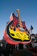 USA, Los Angeles California, Universal Studios. 78 Foot Neon Fender Stratocaster Guitar Outside the Hard Rock Caf?