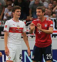 01.09.2018, VfB Stuttgart vs FC Bayern, Mercedes Benz Arena Stuttgart, Fussball, Sport, im Bild:...Benjamin Pavard (VFB Stuttgart) und Thomas Mueller (FCB) schimpft...DFL REGULATIONS PROHIBIT ANY USE OF PHOTOGRAPHS AS IMAGE SEQUENCES AND / OR QUASI VIDEO...Copyright: Philippe Ruiz..Handy: 0177 29 39 408. (Credit Image: © Philippe Ruiz/Xinhua via ZUMA Wire)