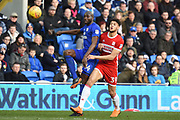 Middlesbrough forward Rudy Gestede (39) challenges Cardiff City defender Souleymane Bamba (14) 0-0 during the EFL Sky Bet Championship match between Cardiff City and Middlesbrough at the Cardiff City Stadium, Cardiff, Wales on 17 February 2018. Picture by Alan Franklin.