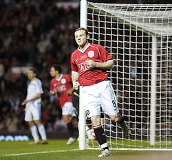Manchester, England - Tuesday, March 13, 2007: Manchester United's Wayne Rooney celebrates scoring the fourth goal against Europe XI during the UEFA Celebration Match at Old Trafford. (Pic by David Rawcliffe/Propaganda)