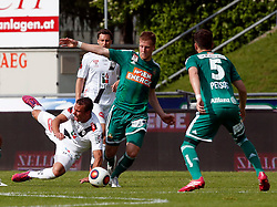31.05.2015, Stadion Wolfsberg, Wolfsberg, AUT, 1. FBL, RZ Pellets WAC vs SK Rapid Wien, 35. Runde, im Bild v.l. Peter Tschernegg (RZ Pellets WAC), Stefan Stangl (SK Rapid Wien) und Thanos Petsos (SK Rapid Wien) // during the Austrian Football Bundesliga 35th Round match between RZ Pellets WAC and SK Rapid Vienna at the Stadium Wolfsberg in Wolfsberg Austria on 2015/05/31, EXPA Pictures © 2015, PhotoCredit: EXPA/ Wolfgang Jannach