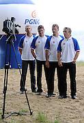 (L-R) KONRAD WASIELEWSKI & ADAM KOROL & MICHAL JELINSKI & MAREK KOLBOWICZ (ALL POLAND) GIVE INTERVIEW FOR TV DURING SAILING PICNIC ON ZEGRZE BAY. THEY WON GOLD MEDAL MEN'S QUADRUPLE SCULLS DURING THE BEIJING 2008 SUMMMER OLYMPIC GAMES IN BEIJING, CHINA...ZEGRZE , POLAND , JUNE 27, 2009. .( PHOTO BY ADAM NURKIEWICZ / MEDIASPORT )