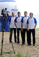 (L-R) KONRAD WASIELEWSKI & ADAM KOROL & MICHAL JELINSKI & MAREK KOLBOWICZ (ALL POLAND) GIVE INTERVIEW FOR TV DURING SAILING PICNIC ON ZEGRZE BAY. THEY WON GOLD MEDAL MEN'S QUADRUPLE SCULLS DURING THE BEIJING 2008 SUMMMER OLYMPIC GAMES IN BEIJING, CHINA...ZEGRZE , POLAND , JUNE 27, 2009. .( PHOTO BY ADAM NURKIEWICZ / MEDIASPORT )