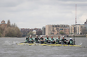 London, UK. 04 April 2019.  Oxford and Cambridge Universities Blue Crews undertake Practice Outings in preparation for this Sunday's Boat Race.<br /> Pictured: Cambridge University Women's Boat Club (CUWBC) Blue Crew.