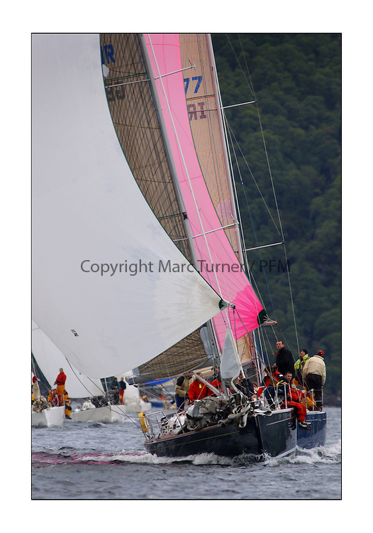 Yachting- The first days inshore racing  of the Bell Lawrie Scottish series 2003 at Tarbert Loch Fyne.  Light shifty winds dominated the racing...Class two's Freya of Rhu a Grand Soleil 40 with Tiger close behind...Pics Marc Turner / PFM